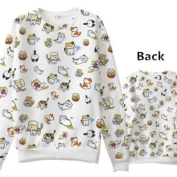 Japanese Game Neko Atsume ねこあつめ Cute Cat Casual Long Sleeve T-shirt Sweater Custom-made b2 (M)