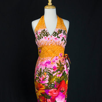 Black Friday Sale* Vintage 60s Hawaiian Bombshell Halter Sarong Dress VLV