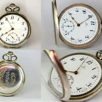 Vintage Omega Silver 800 Pocket Watch Antique Swiss Timepiece