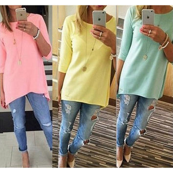 3-color Women's Fashion Plus Size T-shirts [7322410433]