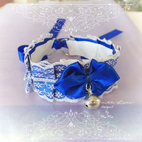 Kitten Pet Play Cat Collar Choker Necklace Navy Royal Blue White Lace Bow Bell kitty pastel goth Lolita Neko BDSM DDLG Adult Baby