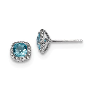 Sterling Silver Cushion Blue Topaz & Created White Sapphire Halo Earrings