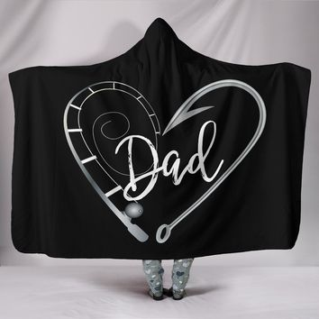 NP Fishing Dad Hooded Blanket