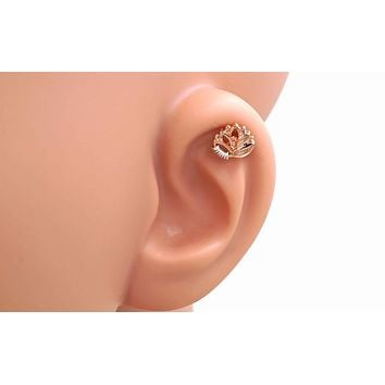 Rose Gold Lotus Cartilage Earring Piercing 16g