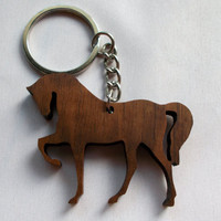 Simple HORSE shape walnut keychain!
