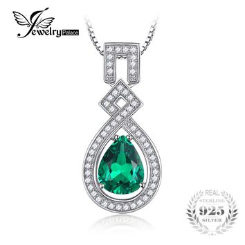 JewelryPalace Luxury 5.09ct Created Emerald Water Drop Necklaces Pendants 925 Sterling Silver Box Chain Wedding Vintage Jewelry