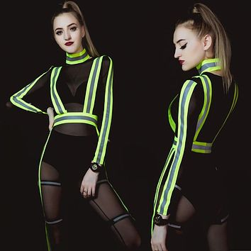 new sexy bar ds costumes nightclub hip-hop singer GOGO leads light jazz dance jumpsuit clothing for woman freeshipping (Black One Size)