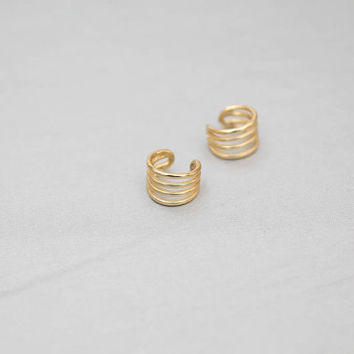 Gold ear cuff, Simple ear cuff, Gold earrings, Minimal jewelry, Silver ear cuff