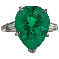 6.82 Carat GIA Cert Emerald Diamond Platinum Cocktail Ring