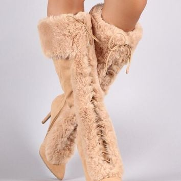 Suede Leather Pointy Toe Boots Faux Fur Lace Up High Heel Warm Snow Boots