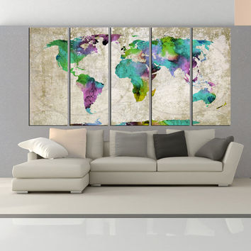 world map wall decor, extra large wall art print, world map wall art modern wall decor canvas Vintage world map print No:6S57