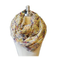 SCARF_TRADINGINC® Floral Butterfly Bird Dragonfly Light Weight X-large Infinity Scarf (Bird & Floral Beige)