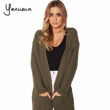 Yanueun Women 2018 Long Cardigan Sweaters Autumn And Winter Cardigans Casual Solid Twist Sweaters for Woman Plus Size Poncho