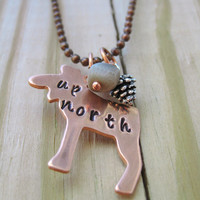 Up North Hand Stamped Necklace With Petoskey Stone