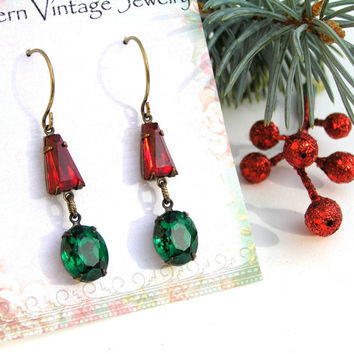 Ruby Emerald Vintage Earrings, Christmas Earrings, Estate Style Earrings