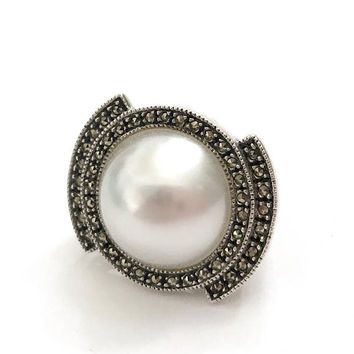 Judith Jack Sterling Silver Fx Mabe Pearl Ring, Marcasite and Large Faux Mabe Pearl Cab, Vintage Gift for Her, Statement Ring, US Size 6