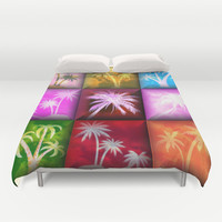 Palm Trees Abstract Art Duvet Cover by Artisticcreationsusa