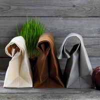 """The """"Brown"""" Bag // TRIO of WAXED Canvas Lunchbags, an updated, eco-friendly classic"""