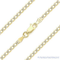 Long Curb Cuban Link Sterling Silver 14k Yellow Gold 2.7mm Italy Chain Necklace