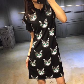 Gucci Fashion Casual Cat Head Print Stripe Lapel Short Sleeve Polo shirt Mini Dress