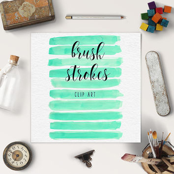 Watercolor Brush Stroke Clipart | Hand Painted Clipart | Mint Watercolor Graphics | Logo Design, Blog Elements | Coupon Code: BUY5FOR8