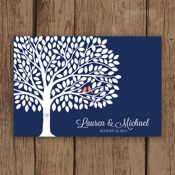 Wedding Guest Book Tree - Guest Book Poster with 200 Leaves - Modern Wedding Guest Book Print in Navy and Coral