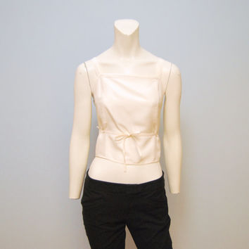 Vintage 1990's Silk Crop Top with Low Back and Bow Wrap Tank Top Tibi Size Small with Square Neckline Shirt
