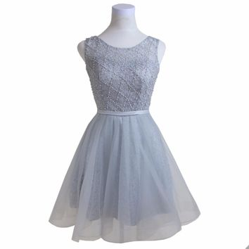 Fashion Rhinestone Pearls Beaded Embroidery Sleeveless Silver Short Prom Party Dresses Formal Evening Gowns Robe De Soiree BK214