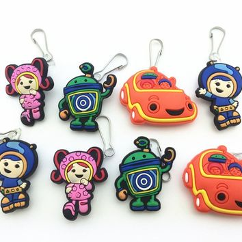 8 Pcs Team Umizoomi Shoe accessories Shoe Charms Shoe Decoration  with Zipper Pull  Zipper Slider  for Jacket Backpack Bag