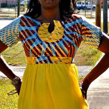 Yellow Ankara and Chiffon Dress