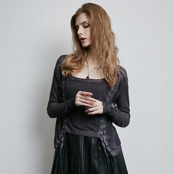 Gothic Hand Knitted Linen Lace Up Steampunk Cardigans