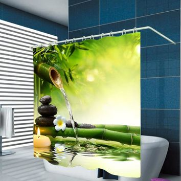 Stone Green Bamboos Printed Shower Curtain Flower Bath Curtain Polyester Waterproof 3D Decor Shower Curtain For The Bathroom New