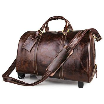 Men's large genuine leather travel wheeled duffel Cowhide trolley case Big Rolling luggage bag