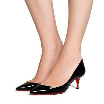 Pigalle Follies 55 Black Patent Leather - Women Shoes - Christian Louboutin