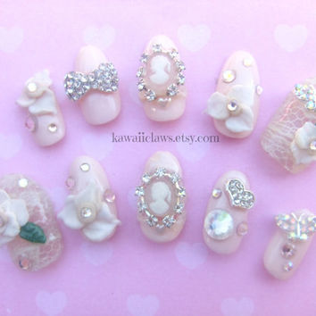 Ivory Lace & Swarovski Cameo Bridal fake false 3D Wedding nails