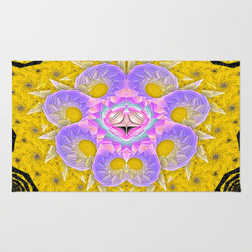Octopus on Gold Area & Throw Rug by Awesome Palette | Society6