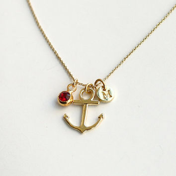 initial necklace, golden anchor necklace, birthstone necklace,  bridesmaid gifts, Gift for her, personalized necklace, SALE