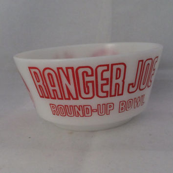 Ranger Joe  Bowl - Milk Glass Cereal Dish, Hazel Atlas, 1940s 1950s, Round Up Bowl, Cowboy Graphics