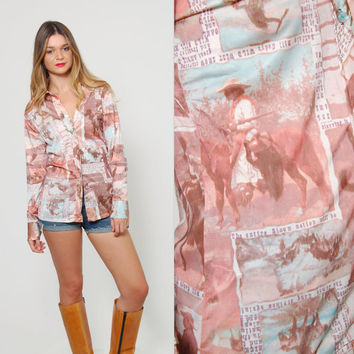 Vintage 70s Button Down Shirt COWBOY / WESTERN Print Graphic Long Sleeve Collared Novelty Top PHOTOGRAPH Print Top