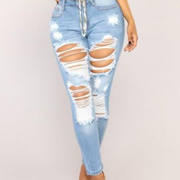 Light Blue Buttons Pockets Cut Out Ripped Destroyed Casual Long Jeans