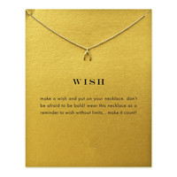 Hot Sale Sparkling wishbone gold plated Pendant necklace Clavicle Chains Statement Necklace Women Jewelry