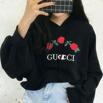 Women's Gucci Embroidery Rose Flower Blouse Loose Hoodie Sweatershirt