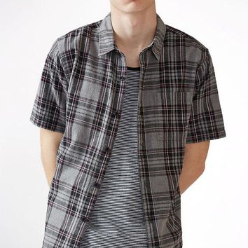 DCCKYB5 Plaid Extended Length Short Sleeve Button Up Shirt