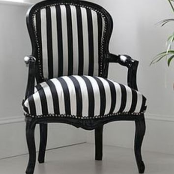 hattie black and white striped chair by out there interiors | notonthehighstreet.com