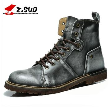 Retro Silver Men's Boots Genuine Leather Military Boots Tactical Ankle Boots Fashion Tooling Men Botas Leather Shoes