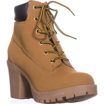 ZIGI Kiana Lug Sole Combat Boots, Wheat/Brown, 7 US
