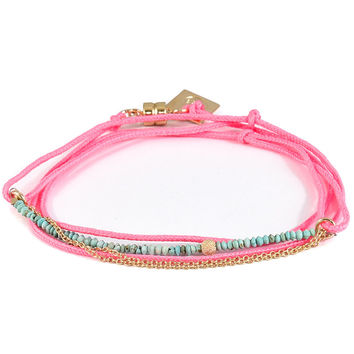 Dafne   Mini Turquoise Pink Wrap Bracelet with Chain