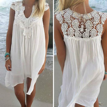 Openwork Crochet Chiffon Dress