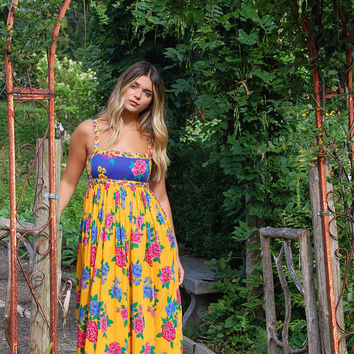 Vintage 70s FLORAL Maxi Dress Cotton KASPER Dress Bright Floral Boho Dress Hippie Dress Contrasting Print Sun Dress