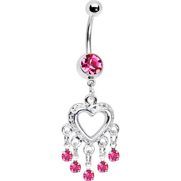 Love Drops Pink Heart Chandelier Belly Ring